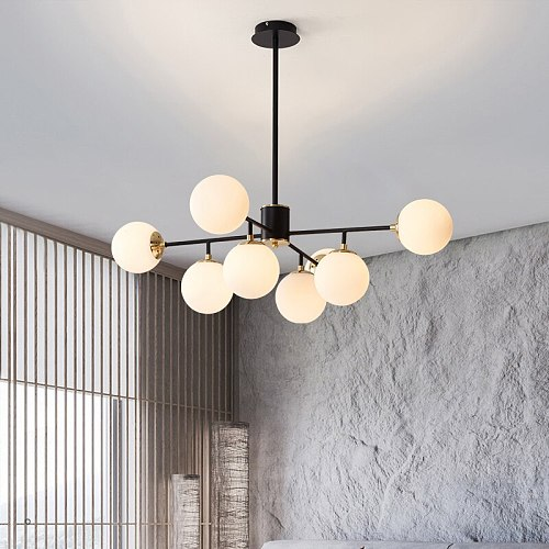 Nordic Gold LED Chandelier For Living Room Bedroom Kitchen Modern Glass Ball Molecular Ceiling Hanging Lamp Light Fixture
