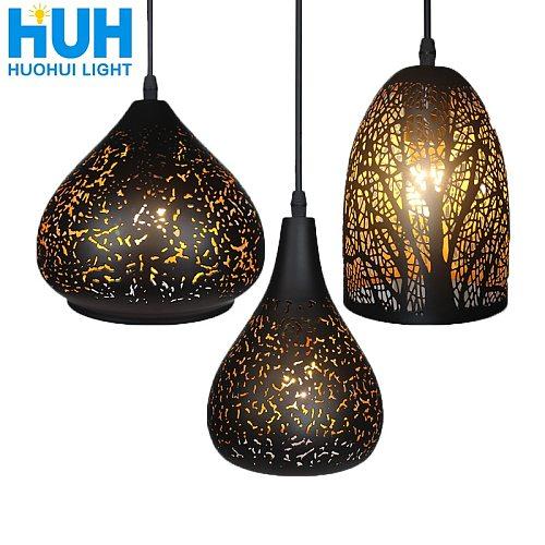 Vintage Pendant Light Nordic Porous Loft E27 LED Iron Etching Lampshade Bar Restaurant Lamp Creativity Style Rust Pendant Lamp