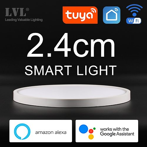 Modern LED Smart Ceiling Light Dimmable Home Lighing WiFi Tuya App AI Voice Control Ultrathin Surface Mounting Ceiling Lamp