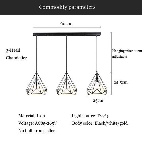 Nordic 3 heads long bar lighting chandelier restaurant dining room lighting barber shop table hanging lamp E27 droplight