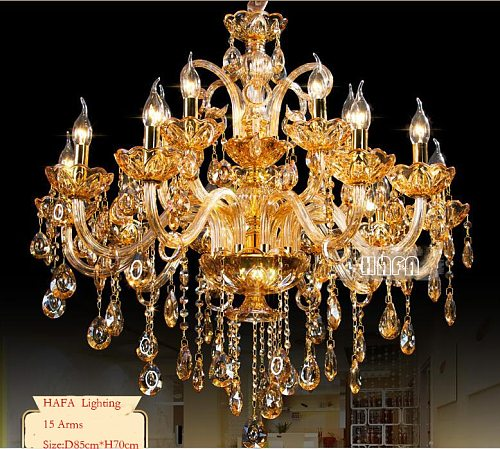 New Modern Big Lustres Chandelier 100% K9 Crystal Luxury Large Home Decoration Amber/gold/cognic/Clear Chandelier Lighting
