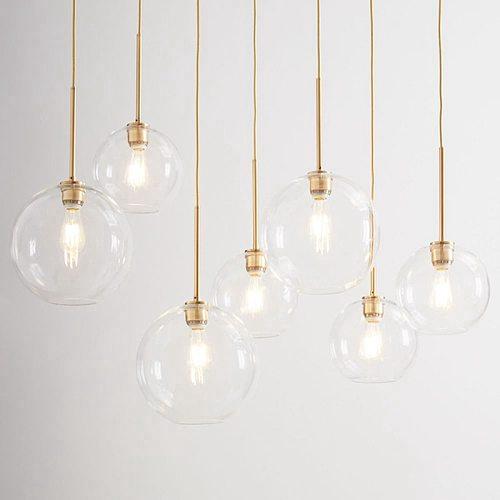 LukLoy Loft Gold Silver Glass Ball Modern Pendant Hanging Lamp Hanglamp Kitchen Light Fixture Dining Living Room Lighting