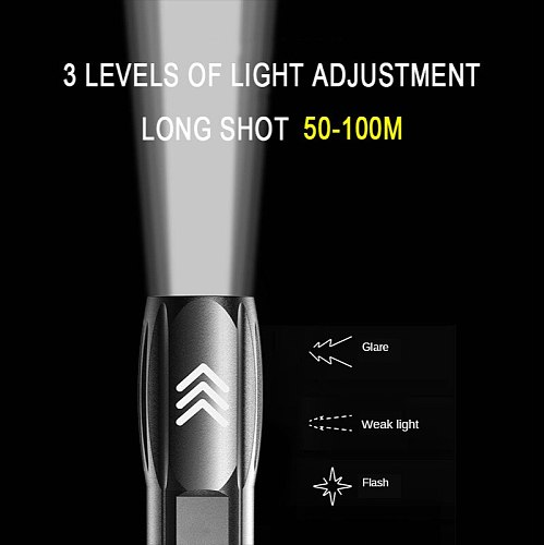 ZHIYU Mini LED Flashlight with P900 LED Beads Built-in 1200mAh Lithium Battery Waterproof Camping Light USB Rechargeable Torch