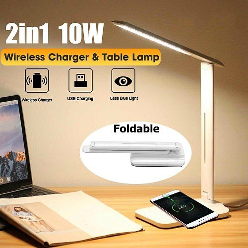 10W LED Desk Lamp 2 In 1 Multi-Function Table Lamp Adjustment Home Lighting Fast Qi Charging Wireless Charger Folding Light