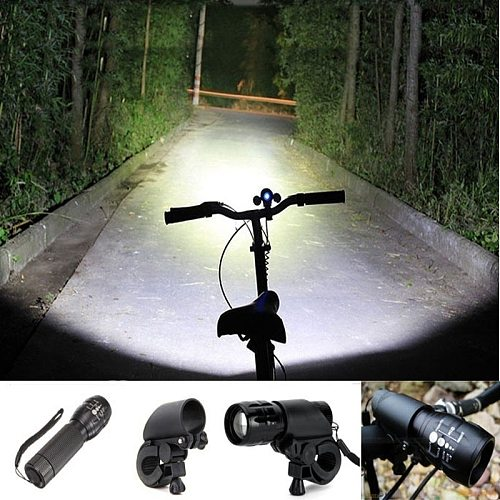 LED Flashlight Torch Clip Mount Bicycle Front Light Bracket Flashlight Holder Lantern Bike for Cycling Camping Outdoor