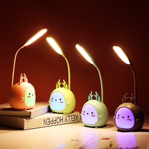 LED Table Lamp USB Rechargeable Desk Lamp Three-speed Dimming Cute Dormitory Reading Lamp Eye Protection Bedroom Night Light
