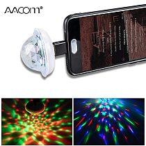 Music Sensor USB Mini Disco Stage Lighting Effect Light DJ Crystal Magic Ball Lamp Apply to Phone Micro usb/Lightning/Type C