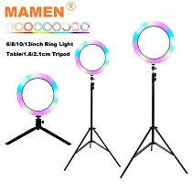 MAMEN 6/8/10/13 inch RGB LED Selfie Ring Light 12 Levels Adjust Photography Dimmable Youtuber DSLR Video Studio Lighting Lamp