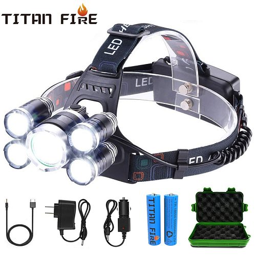 T20 LED Headlamp High Lumen 3/5 LED Light Ultra Bright Headlight USB Rechargeable 4 Modes Flashlight Waterproof  Fishing Hunting