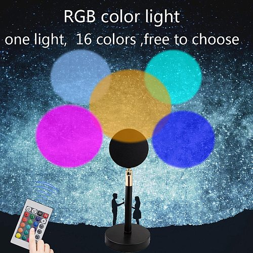 USB RGB Remote Control Rainbow Sunset Red Projector Led Night Light Sun shine Projection Desk Lamp for Bedroom Wall Decoration