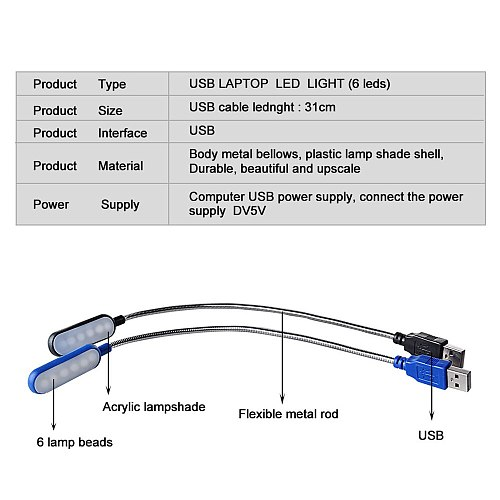 Flexible USB LED Desk Lamps 360 Degree DC 5V Portable Adjustable Table Lamp 6 LEDs Reading Book Lights Nightlight For Laptop PC