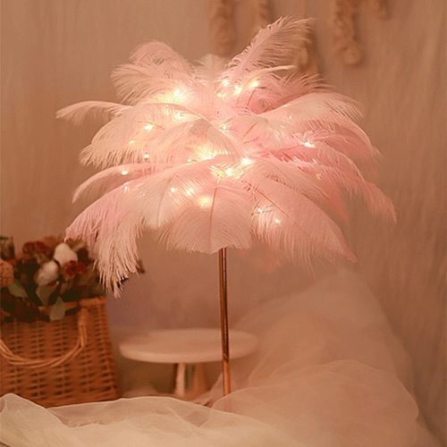 Creative Feather Table Lamp with Remote Control USB/AA Battery Power Desk Lamp Tree Feather Lampshade Night Light for Birthday