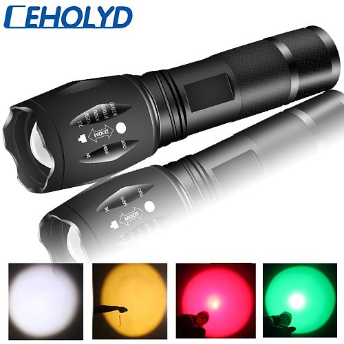 CEHOLYD 1&3&5&10pcs Yellow & White 2 Colors XM-L2 U3 Led Flashlight Zoomable Waterproof Torch 18650 or AAA Battery for Camping