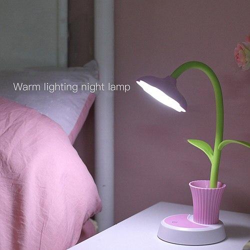 USB Chargeable LED Table Lamp 2 In 1  Sun Flower LED Desk Lamp with Pen Holder Children Reading Learning Eye Protect Night Light