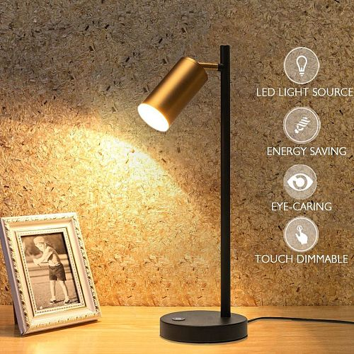 LED Table Lamp Industrial Touch Dimmable Desk Lamp Gold Table Lamps for Bedroom Decoration Bedside Lamp Home Office Night Lights