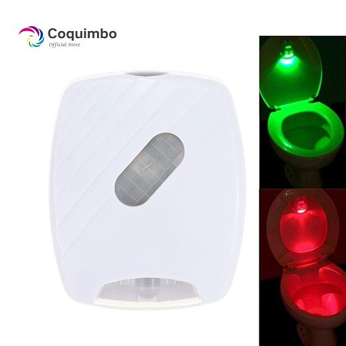Motion Sensor Toilet Seat Lighting 2 Colors Battery Operated Toilet Lid Induction Backlight For Toilet Bowl Bathroom Night Light