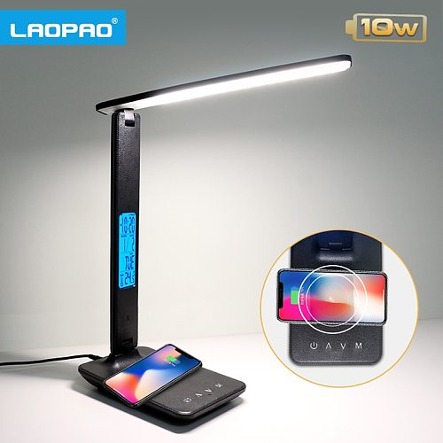 LAOPAO10W QI Wireless Charging LED Desk Lamp With Calendar Temperature Alarm Clock Eye Protect Reading Business Light Table Lamp