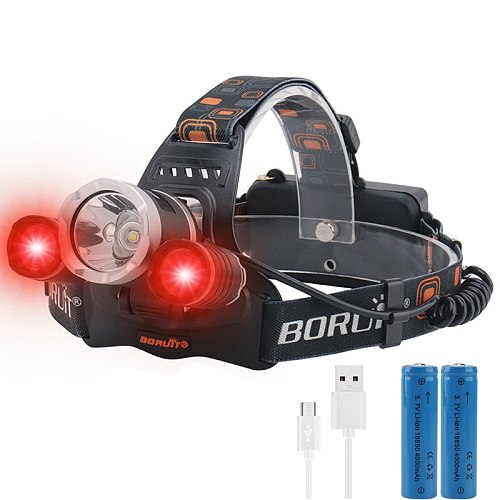 2000LM 3LED Headlamp Red Light Outdoor Headlight 3-Modes Waterproof USB Flash Head Lamp Torch Lantern For Hunting
