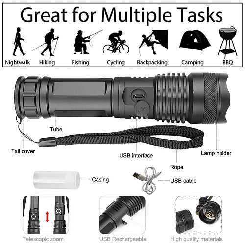 xhp50.2 most powerful flashlight 5 Modes usb Zoom led torch xhp50 18650 or 26650 battery Best Camping, Outdoor