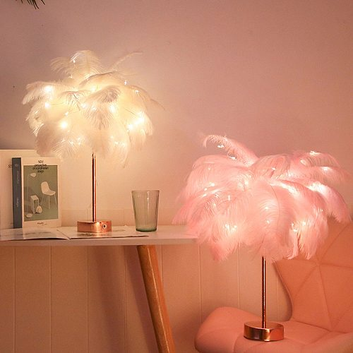 Remote Control Feather Table Lamp USB/AA Battery Power DIY Creative Warm Light Tree Feather Lampshade Wedding Home Bedroom Decor
