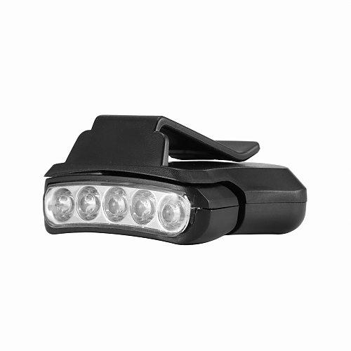 5 LED Headlamp Cap Light 90 Degree Rotatable Clip-On Hat Light Hands Free Bright Head Flashlight Lantern Camping Cycling