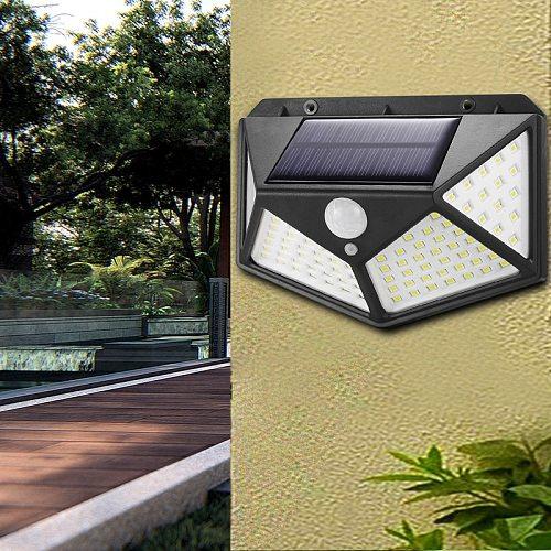 3 modes outdoor 100 Led solar  IP65 PIR motion sensor Lampara solar light, used for garden street porch decoration night light
