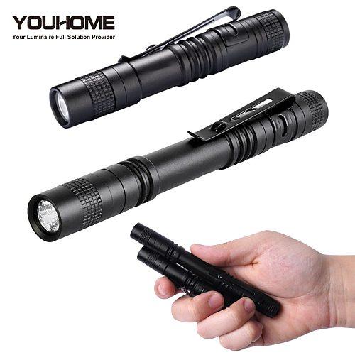 Mini Portable flashlight 1000 lumens waterproof AAA Small Penholder Pen Light alu. alloy Pocket Lamp For dentist Camping hunting