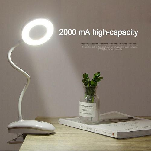 Desk Lamps Clip Rechargeable LED Eye Reading Ring Table Lamp Bedroom Children Learning Students Touch Table Lamp