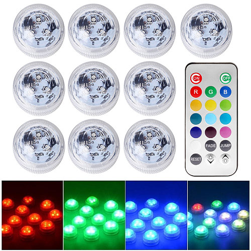 IP68 Waterproof Underwater LED Remote RGB Submersible Light For Fish Tank Swimming Pool Garden Battery Operated Night Light