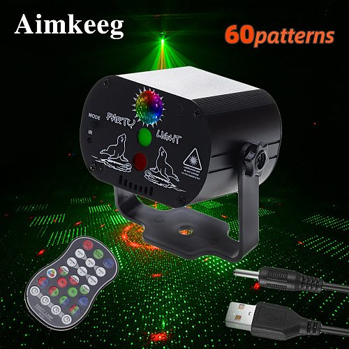 Mini LED Laser Stage Light Christmas Lights DJ Disco Effect 60 Mode Remote Control USB Party Lamp Bar Party Decoration Show