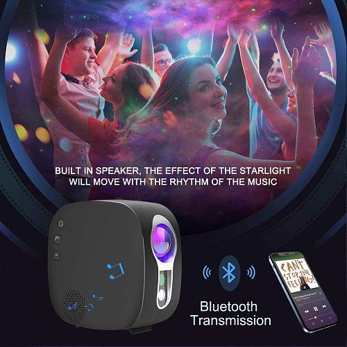 ALIEN Starry Sky Moon Projector Stage Laser Lighting Effect Galax Nebula Ocean Bedroom Kids Party Night Lamp Bluetooth Speaker