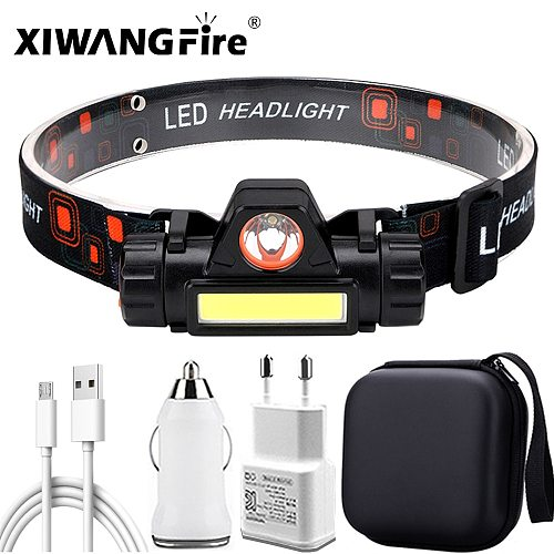 ZHIYU LED Headlamp Magnetic USB Rechargeable Headlight with XPE Spotlight COB Floodlight 18650 Battery Camping,Hiking,Running
