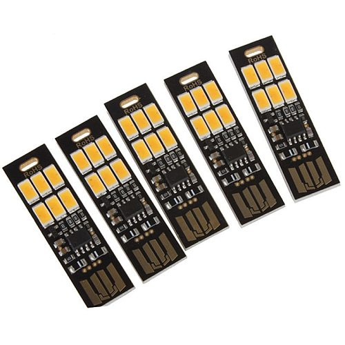 HOT-5Pcs 6-LED Night Light Soshine USB Power 1W 5V Touch Dimmer Warm White Light New
