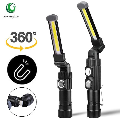 Multi Function Folding Work Light USB Rechargeable Built-in Battery  COB LED Flashlight Camping Lights Torch Flashlight lantern