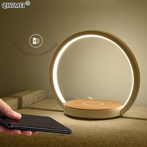 Modern Table Lamps For Bedroom Study Reading Lights Bedside Eye Protect Touch Dimming Lighting Luminaria Phone Wireless Charging