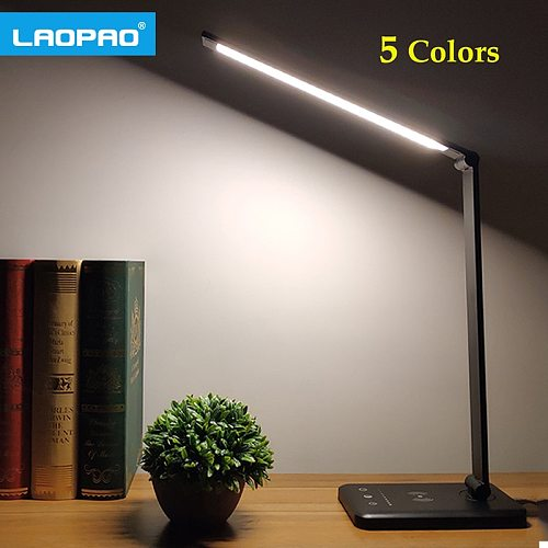 LAOPAO 52PCS LED Desk Lamp 5 Color Stepless Dimmable Touch USB Chargeable Reading Eye-protect with timer Table lamp Night Light