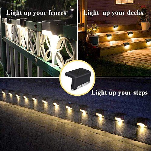 1/4/8/16pcs LED Solar Lamp Path Stair Outdoor Waterproof Wall Light Garden Landscape Step Deck Lights Balcony Fence Solar Lights