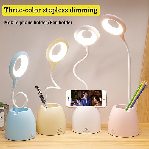 Led USB Table Lamp Touch Dimming Bendable Desk Lamps Eye Protection Learning reading Night light with Multi Function Pen Holder