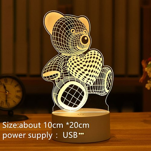 3D Easter Rabbit Romantic Love Acrylic LED Night Light Decor Table Lamp Wedding Valentine's Day Wife's Gift Anime Lamp