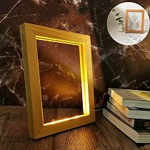 Usb Wooden Table Lamp Creative Square Wood Photo Frame with Led Lights Bedroom 3D Night Light Home Decor Ornaments