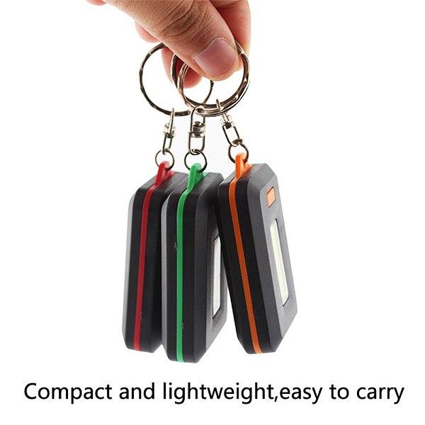 Mini Portable COB LED Flashlight Keychain Torch Emergency Camping Flash Light Mode Lamp Pocket Lantern 3 Modes Use 3 AAA Battery