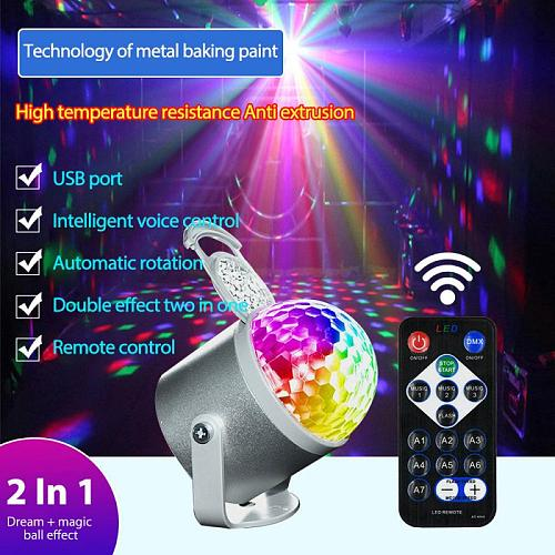 Decorative Lamps Lights Colorful Rotating Fantasy Ball Light Family KTV Car Flashing Projection Light Star Voice Control Light