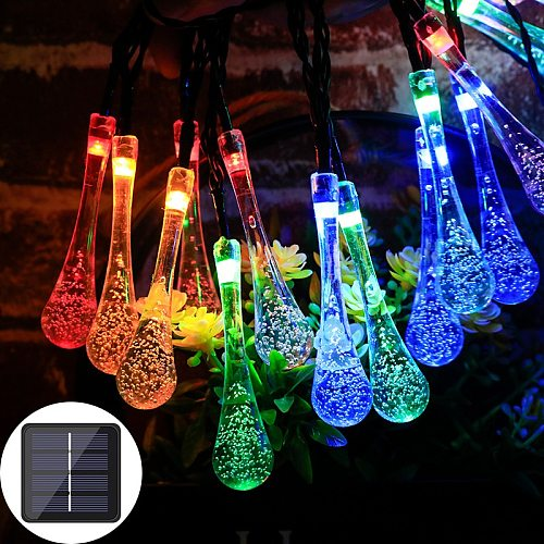 6.5M 30LED Solar Droplet Bulb String Lights Outdoor Waterproof Christmas Garden Light Lawn Courtyard Solar Lamp Decoration