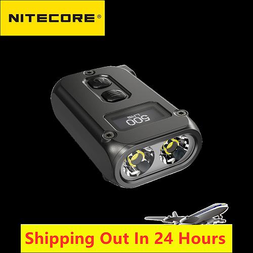 Nitecore TINI2 Flashlight 500 Lumens OLED Smart Dual-Core Key Light APC Sleep Technology Long Standby Using USB Type-C Charging