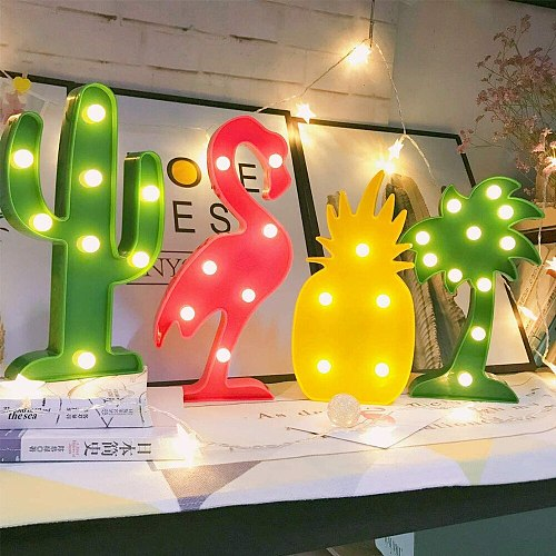 LED Flamingo Night Light Christmas Rree Decoration Lamp Pineapple 3D Table Lamp Cactus Night Lights for Kids Christmas Gifts