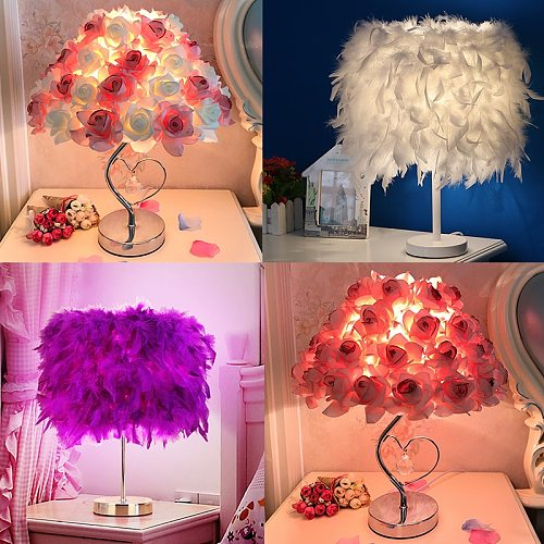 Creative Simple European Style Feather Table Lamp Bedroom Bedside Princess Wedding Room Warm LED Birthday Gift Rose Table Lamp