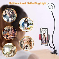 Clip On Led Selfie Ring Light With Cell Phone Holder Flexible Dimmable Make up Lamp Desk Table Lamp Photo Studio For Live Stream