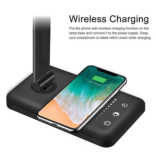 LED Desk Lamp High Lumen With Wireless Charger USB Eye-Protection Table Lamp Aluminum Alloy Foldable Reading Dimmable Night Lamp