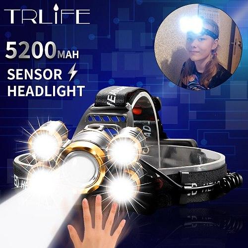 5200mAh LED Headlamp Super Bright Sensor Headlight 5T6 Outdoors Waterproof Zoomable USB Rechargeable Flashlights Camping Light
