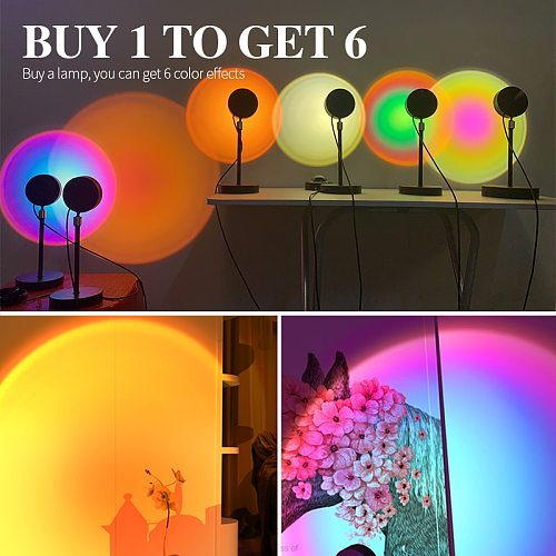 Rainbow Sunset Lamp Projector Night Light Sunset Projection Led Desk Lamp for Bedroom Atmosphere Rainbow Lamp Decoration Light(Free shipping)